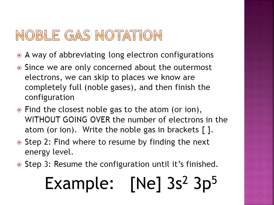 Example: [Ne] 3s2 3p5 Noble Gas Notation